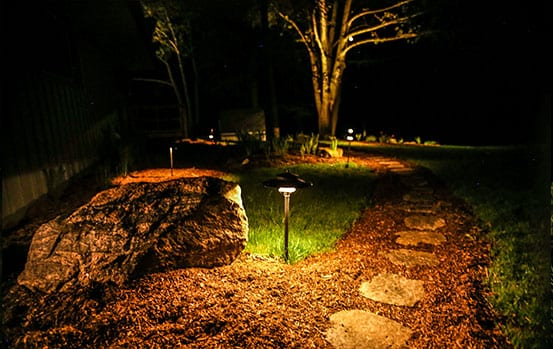 landscape lighting on pathway